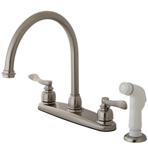 Paris Satin Nickel 8-in Double Handle Goose Neck Centerset Kitchen Faucet with White Sprayer