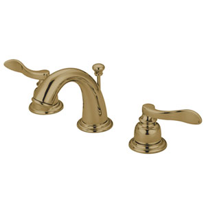 Paris Polished Brass Double Handle Mini-Widespread Lavatory Faucet with Retail Pop-Up