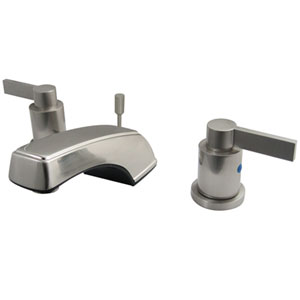 Dubai Satin Nickel 8-in Double Handle Widespread Lavatory Faucet with Brass Pop-Up
