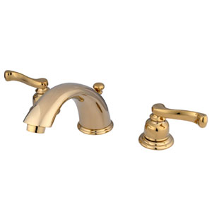 Polished Brass French Lever Twin Handle Widespread Lavatory Faucet