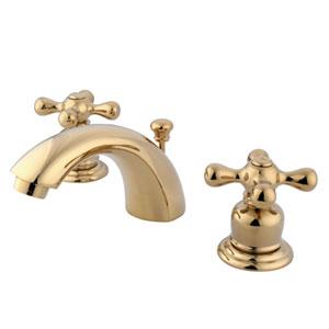 Polished Brass Metal Cross Handle Adjustable Spread Lavatory Faucet