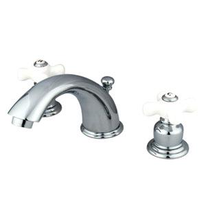 Chrome Porcelain Cross Handle Adjustable Spread Lavatory Faucet