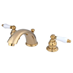 Polished Brass Porcelain Lever Adjustable Spread Lavatory Faucet