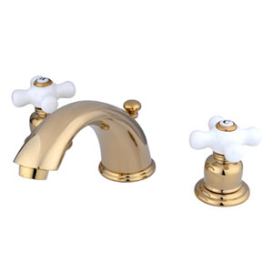 Polished Brass Porcelain Cross Handle Adjustable Spread Lavatory Faucet