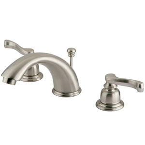 St. Charles Satin Nickel Two Handle 4-Inch to 8-Inch Mini Widespread Lavatory Faucet with Retail Pop-up