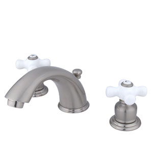 Satin Nickel Porcelain Cross Handle Adjustable Spread Lavatory Faucet