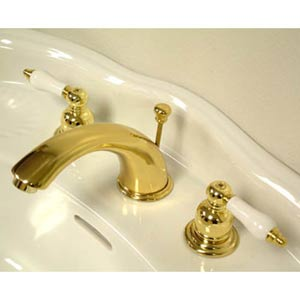 Hot Springs Polished Brass Bathroom Faucet with Porcelain Levers