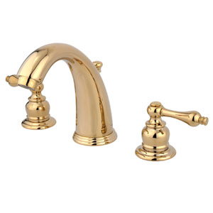 Polished Brass Metal Lever Twin Handle Widespread Lavatory Faucet with Brass Pop-Up