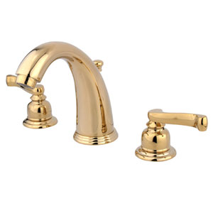 Polished Brass French Lever Twin Handle Widespread Lavatory Faucet with Brass Pop-Up