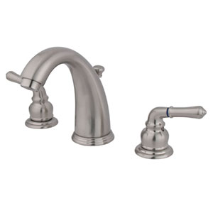 Satin Nickel Modern Lever Twin Handle Widespread Lavatory Faucet with Brass Pop-Up