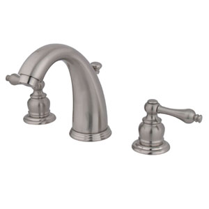 Satin Nickel Metal Lever Twin Handle Widespread Lavatory Faucet with Brass Pop-Up