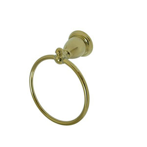 English Vintage Polished Brass Bronze 6-Inch Towel Ring