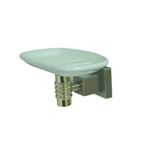 Fortress Satin Nickel and Polished Brass Soap Dish with Ceramic Soap Dish