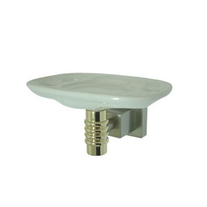 Fortress Satin Nickel and Polished Brass Tooth Brush and Tumbler Holder