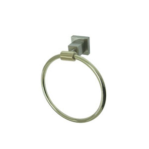 Claremont Satin Nickel and Polished Brass 6-Inch Towel Ring