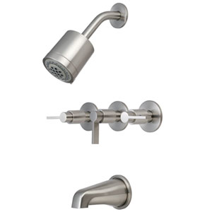 Satin Nickel Metal Lever Three Handle Tub and Shower Faucet