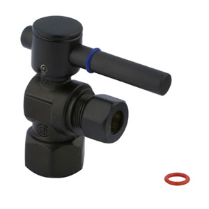 South Beach Oil Rubbed Bronze 1/4-Turn 1/2-in IPS x 3/8-in OD Compression Angle Stop Valve