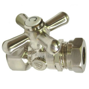 Accents Satin Nickel Straight Stop with 1/2-Inch IPS x 1/2-Inch or 7/16-Inch Slip Joint