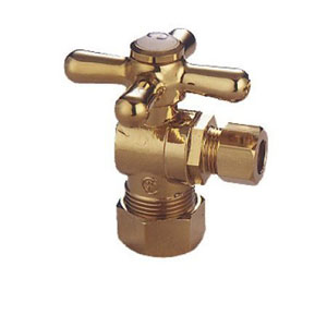 Accents Polished Brass Classic Angle Stop with 5/8-Inch OD Compression x 3/8-Inch OD Compression