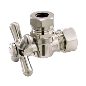 Accents Satin Nickel Classic Angle Stop with 5/8-Inch OD Compression x 1/2-Inch or 7/16-Inch Slip Joint