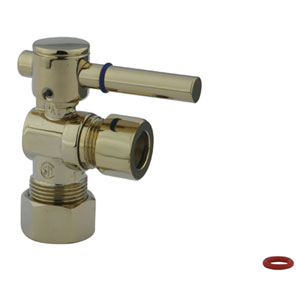 South Beach Polished Brass 1/4-Turn Angle Stop Valve with 5/8-in OD Compression x 1/2-in or 7/16-in Slip Joint