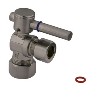 South Beach Satin Nickel 1/4-Turn Angle Stop Valve with 5/8-in OD Compression x 1/2-in or 7/16-in Slip Joint
