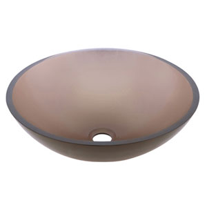 Lily Brown Amber Tempered Glass Bathroom Sink without Overflow Hole