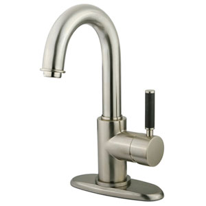 Nu-Vogue Satin Nickel Single Handle 4-Inch Centerset Lavatory Faucet with Push Pop-up and Optional Deck Plate