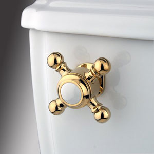 Polished Brass Buckingham Cross Decorative Tank Lever, Arm Designed For Limited Adjustment