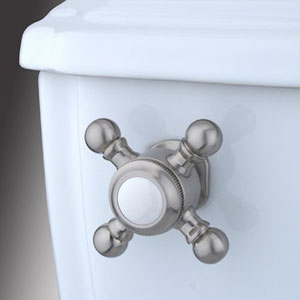 Satin Nickel Buckingham Cross Decorative Tank Lever, Arm Designed For Limited Adjustment