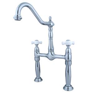 Chrome Porcelain Cross Handle Vessel Sink Faucet