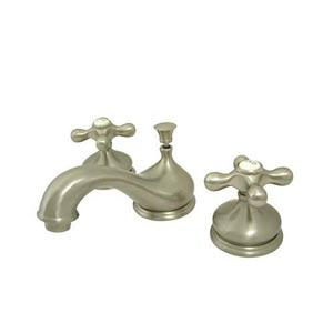 Hot Springs Satin Nickel Bathroom Faucet with Metal Crosses