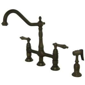 New Orleans Oil Rubbed Bronze Deck Mount Kitchen Faucet with Metal Lever