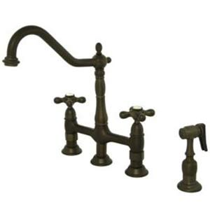 New Orleans Oil Rubbed Bronze Deck Mount Kitchen Faucet with Metal Cross