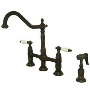 New Orleans Oil Rubbed Bronze Deck Mount Kitchen Faucet with Porcelain Lever