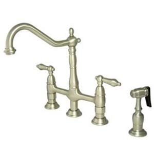 New Orleans Satin Nickel Deck Mount Kitchen Faucet with Metal Lever