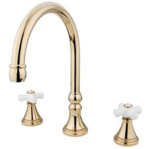 Madison Polished Brass Adjustable Spread Roman Tub Filler with Porcelain Cross
