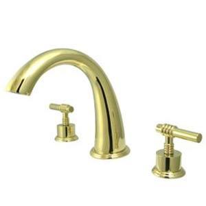 Milano Polished Brass Adjustable Spread Roman Tub Filler