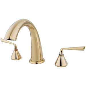 Polished Brass Metal Lever Handle Roman Tub Filler