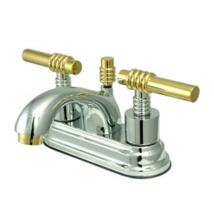 Milano Chrome and Polished Brass Centerset Bathroom Faucet