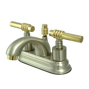 Milano Satin Nickel and Polished Brass Centerset Bathroom Faucet