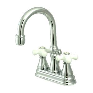 Madison Chrome Bar Faucet with Porcelain Crosses