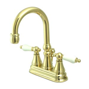 Madison Polished Brass Bar Faucet with Porcelain Handles