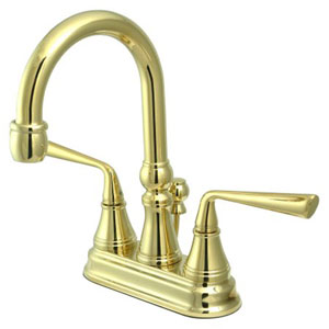 Syracuse Polished Brass  Two Handle 4-Inch Centerset Lavatory Faucet with Brass Pop-up