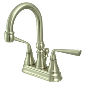 Syracuse Satin Nickel Two Handle 4-Inch Centerset Lavatory Faucet with Brass Pop-up