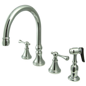Chrome Buckingham Lever Adjustable Spread Deck Mount Kitchen Faucet with Matching Sprayer