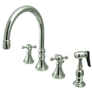 Chrome Knight Cross Handle Adjustable Spread Deck Mount Kitchen Faucet with Matching Sprayer