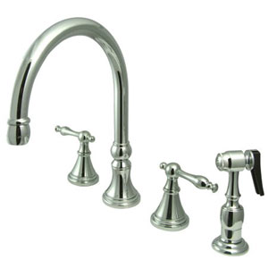 Chrome Naples Lever Adjustable Spread Deck Mount Kitchen Faucet with Matching Sprayer