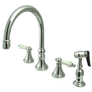Chrome Porcelain Lever Adjustable Spread Deck Mount Kitchen Faucet with Matching Sprayer