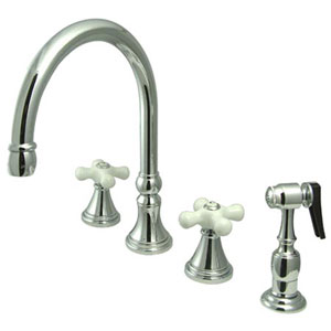 Chrome Porcelain Cross Handle Adjustable Spread Deck Mount Kitchen Faucet with Matching Sprayer